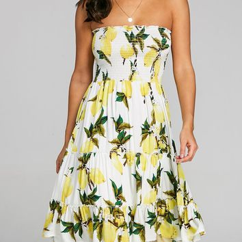 Lemon Print Shirred Ruffle Dress