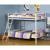 Twin over Twin Bunk Bed with Ladder in White Metal Finish