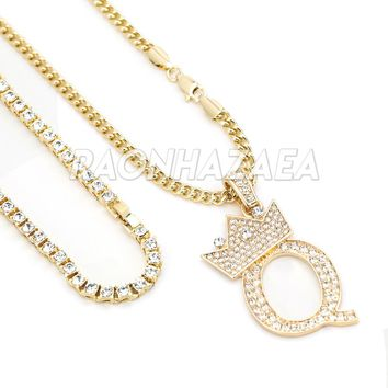Iced Out Crown Q Initial Pendant Necklace Set