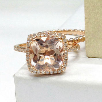Wedding Ring Set!Morganite Engagement Ring,Plain gold bead Full Eternity Band 14K Rose Gold,9mm Cushion cut Morganite,Stack Matching Band