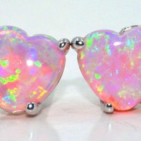 3 Carat Pink Opal HEART earrings in sterling silver
