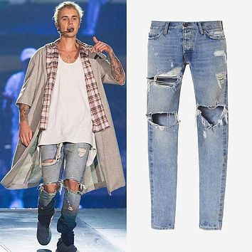 kanye west clothes streetwear light blue hip hop jeans rockstar justin bieber ankle zipper destroyed skinny ripped jeans for men