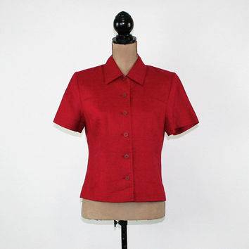 Red Linen Shirt Women Short Sleeve Button Up Blouse Medium Petite Womens Clothing