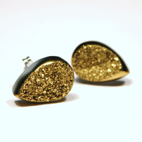 Gold Druzy Stud Earrings Metallic Teardrop Dainty Petite Genuine Titanium Drusy Quartz Gemstone Jewelry for Women on Sterling Silver Posts