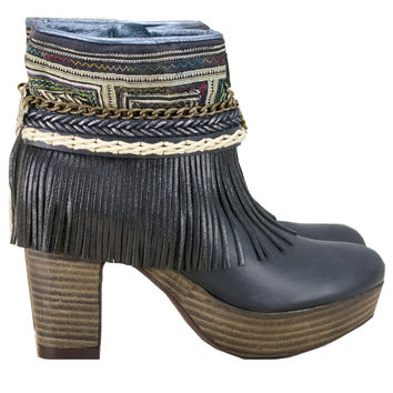 Boho Custom Made High Heel Boots - Black