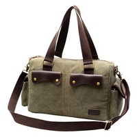 Fashion Contrast Color Unisex Canvas Handbag Shoulder Messenger Bag