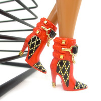 Barbie Doll Shoes - Red Doll Boots with Gold Tone Metal Accent Designs For Barbie Sized Dolls