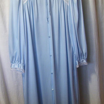 Miss Elaine Robe, Blue Nylon, Size Medium, Classic Button Front