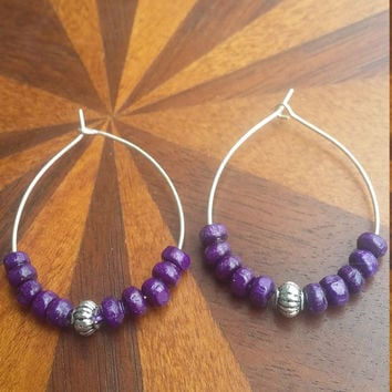 Purple And silver wooden bead hoop earrings