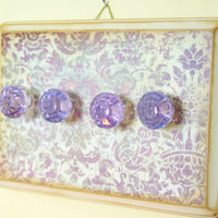 Shabby Chic Necklace Hanger, Jewelry Display, Purple Knobs, Light Purple, Cottage Chic