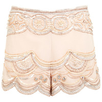 Nude Embellished Shorts - View All - New In