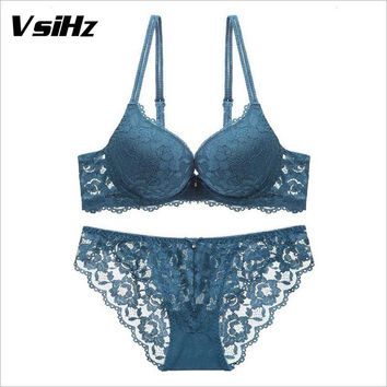 Sexy lace embroidery flowers thin thick double shoulder strap bra set deep V-neck thickening women's push up underwear VSIHZ