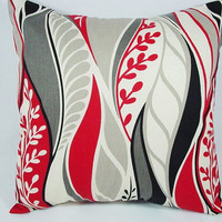 Two Floral Red Black and Grey Throw Pillows - 16 x 16 inches Throw Pillow Couch Pillow Cushion Cover Accent Pillow