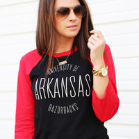 Red + Black Razorback 3/4 Sleeve Tee