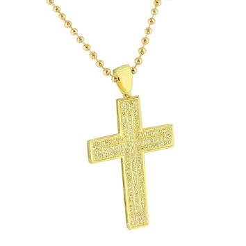 Cross Design Pendant Free Moon Chain 14K Gold Finish Yellow Lab Created Diamonds