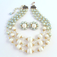 Triple Strand Necklace & Earring Set - AB Crystals and Celadon Green Beads