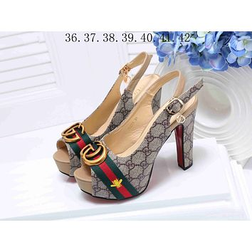 Gucci Stylish Women Princess Small Bee Embroidery High Heels High-Heeled Shoes Sandals I-KSPJ-BBDL