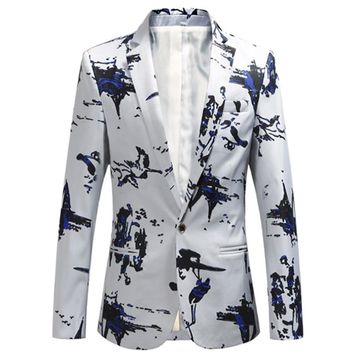 2018 Fashion New Men's Boutique Print Suit Coat / Men's casual blazers jacket