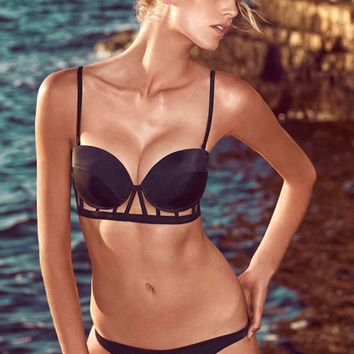 Cut-Out Detailed Black Push Up Bikini with Low Rise Buttom