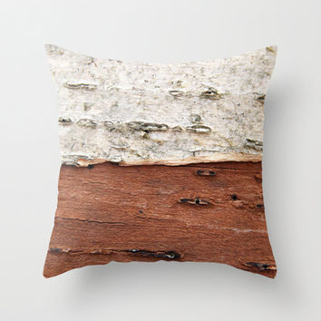 Brown and White Birch Tree Bark - White, Brown, Taupe, Beige - Throw Pillow Cover