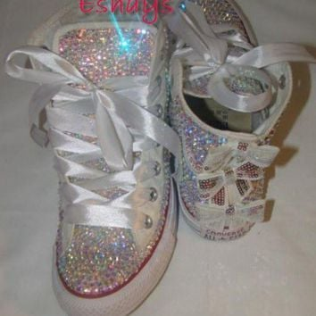 CREYUG7 AB Sparkly High Top Converse with Sequin Silver Bow cd414221e