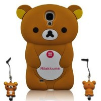 I Need 3D Cartoon Lazy Relax Bear Soft Silicone Case Cover for Samsung Galaxy S4 S Iv I9500 with 3D Stylus Pen (BROWN)