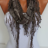 Brown Shawl/ Scarf  Headband - Cowl with Trim Edge- Summer Trends