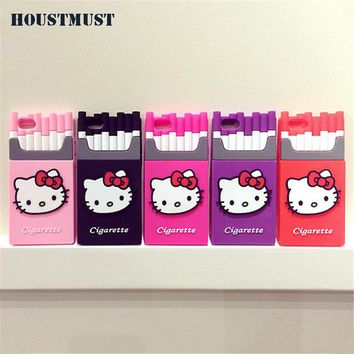 Cute Hello Kitty pattern Cigarettes Soft silicon Phone case For iPhone 6S Soft Protective Shell For iPhone 5 5S SE 6SPlus Cover