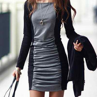 Color Block Long Sleeve Ruched Mini Dress