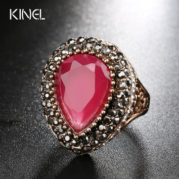 Luxury Turkish Jewelry Fashion Color Gold Dubai Hot Ring Red Resin Wedding Rings For Women Best friend's Gift 2017 New