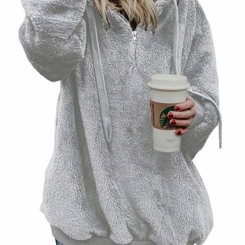 Dark Gray Warm Furry Pullover Hoodie
