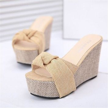 Summer Style Fashion Slippers Flip Flops Women Wedges Sandals Platform High Heel Bowti
