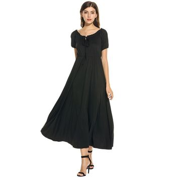 Black Collar Short Sleeve Maxi Dress