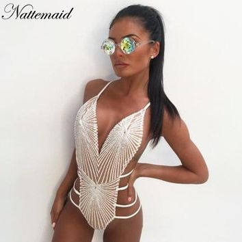 NATTEMAID Rompers Womens Jumpsuit Sexy V Neck Bodycon Women Bodysuit Sequin Glitter Off Shoulder White Jumpsuits For Women 2018
