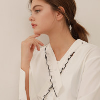 [YUPPE] neck frill blouse (white)
