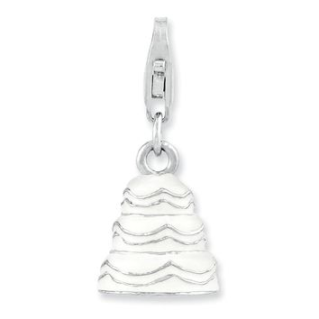 Sterling Silver Rhodium-plated 3-D Enameled Wedding Cake w/Lobster Claw Clasp Ch