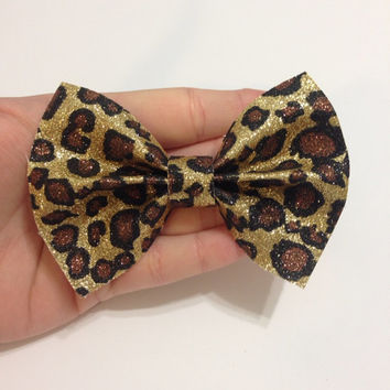 Natural Glitter Leopard Print Canvas Hair Bow on Alligator Clip - 4 Inches Wide - Affordable and High Quality Hair Bows