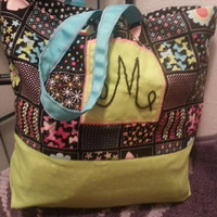 Fabric Tote Bag or Purse - Personalized with Hand-beaded Initial