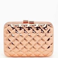 Quilted Metal Clutch - Rose Gold