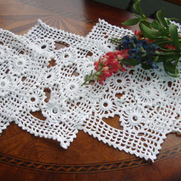 Doilies Hand Crocheted Set of Four Snowy White Square Table Linens Dresser Linens Hand Made 1960s