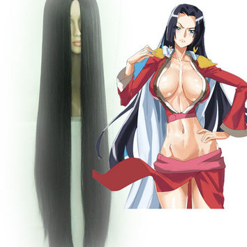 Long Black Hair Wig ONE PIECE Boa Hancock Cosplay Wig,Colorful Candy Colored synthetic Hair Extension Hair piece 1pcs CodeGeass-Nunnally Vi Britannia WIG-008B