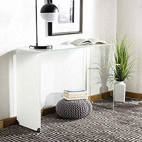 Safavieh CNS7300B Home Collection Crysta Clear and White Ombre Glass Console Table,