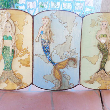 Mermaid Decor- Mixed Media Map- Wall Art-. Blonde Hair- Blue Eyes- Original Beach Painting On Wood- 15X25 inches