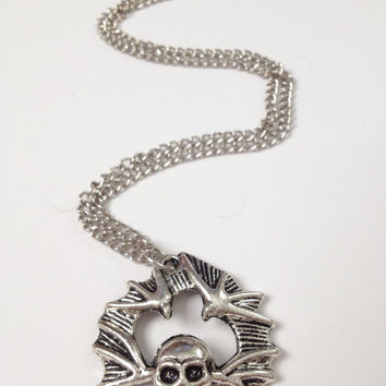 HALLOWEEN CLEARANCE: Skull and Bat Pendant, Halloween Necklace, skeleton, holiday, trick or treat jewelry