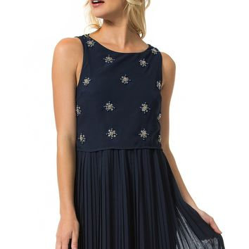 Teeze Me | Sleeveless Beaded Popover Accordion Pleated Dress | Navy