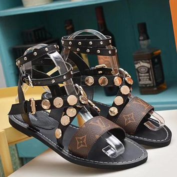 Louis Vuitton LV Women Fashion Ankle Strap Sandals Flats Shoes