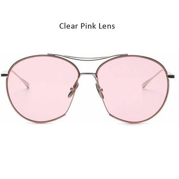 TSHING New Fashion Clear Lens Aviation Sunglasses Women Men Vintage Brand Designer Mirror Pilot Sun Glasses For Ladiy Female
