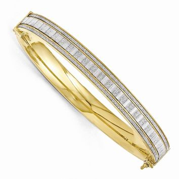 Gold Tone Plated Sterling Silver & Glitter 8mm  Hinged Bangle Bracelet