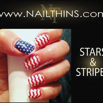 Nail Decal Stars and Stripes full nail art decal NAILTHINS (not vinyl sticker or water slide)
