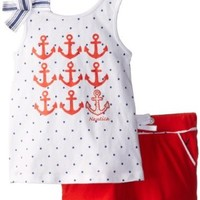 Nautica Baby Girls' Fashion Graphic Tank and Knit Short Set, True Red, 18 Months
